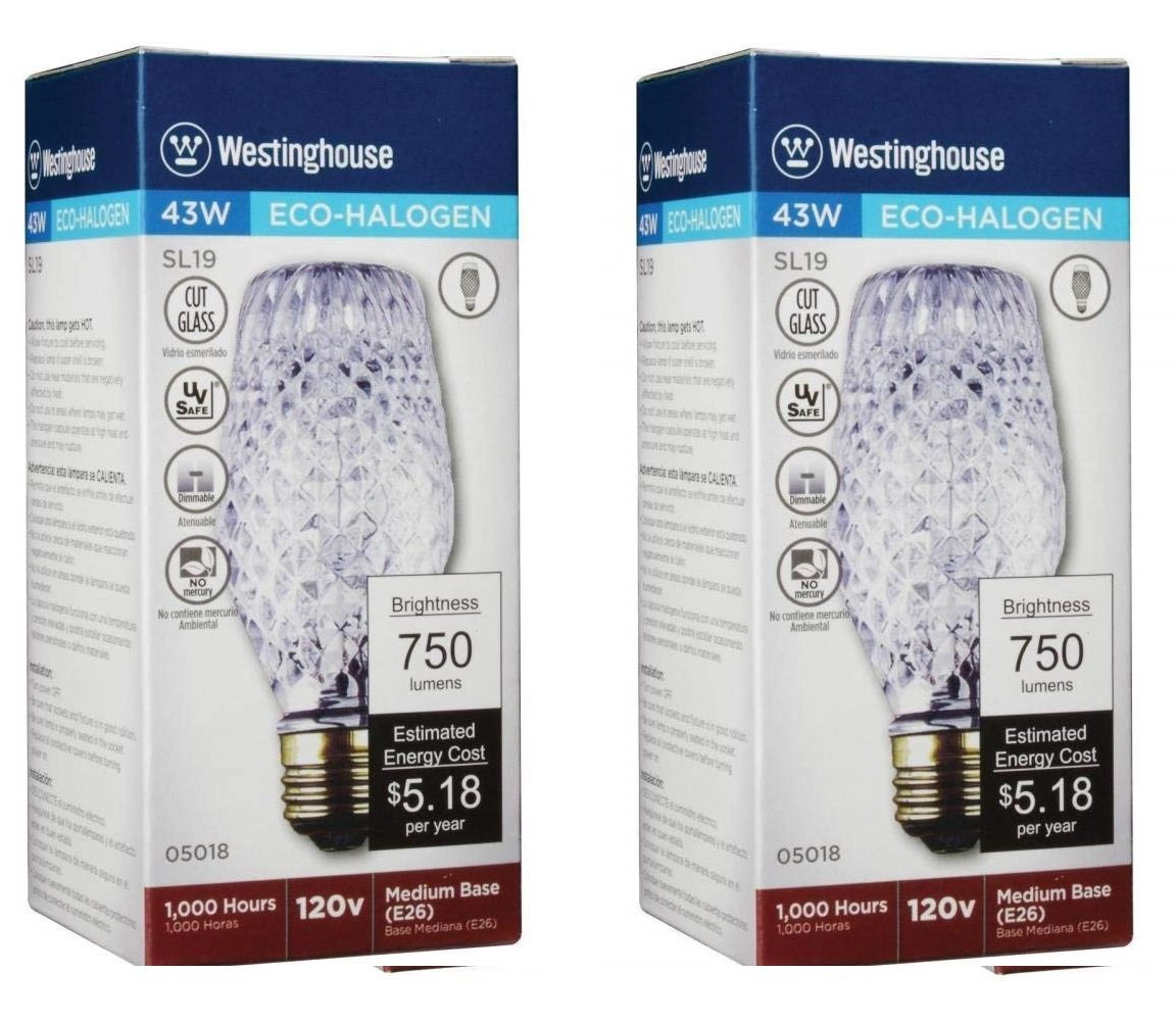 Westinghouse 43W SL19 Halogen Cut Glass Light Bulb with Medium Base 2 Pack
