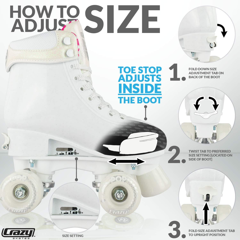 Crazy Skates Glitter POP Adjustable Roller Skates for Girls and Boys | Size Adjustable Quad Skates That Fit 4 Shoe Sizes | White (Sizes jr12-2) by Crazy Skates (Image #3)