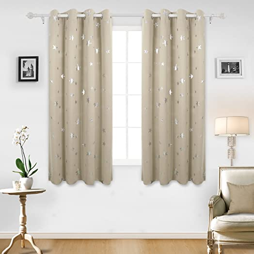 Nice Deconovo Stars Foil Printed Thermal Insulated Ready Made Curtains Eyelet  Blackout Curtains For Bedroom 46 X