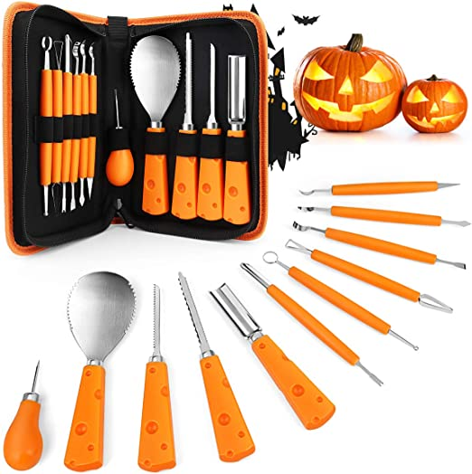 suitable for childrens Halloween decoration Atsuo Halloween carving tool set of 6 stainless steel pumpkin carving tools jack-o-lantern carving set