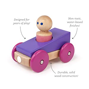 3 Piece Tegu Magnetic Racer Building Block Set, Purple