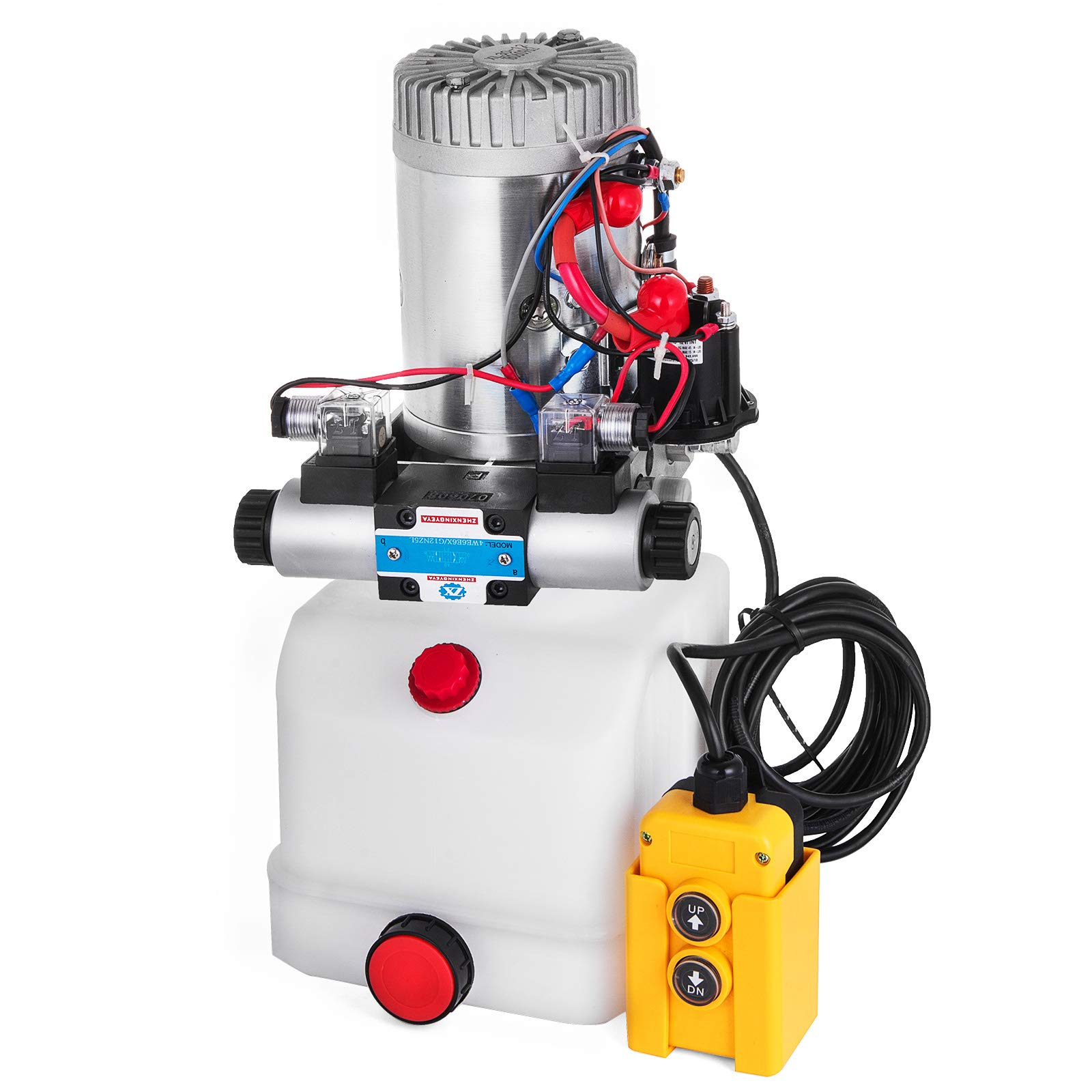 Mophorn Double Acting Single Solenoid Hydraulic Power Pack 12V DC with 4.5L Plastic Reservoir Hydraulic Power Supply Unit Uploading Lift