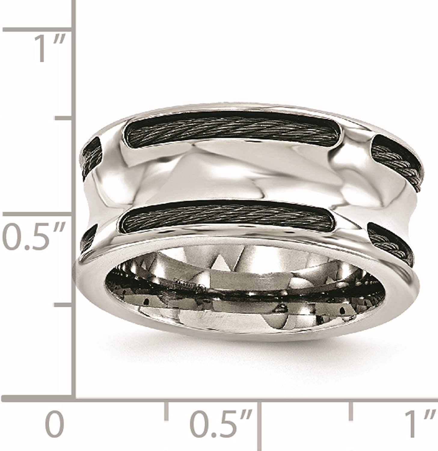Titanium BlackTi /& Stainless Steel Cable Concave 10mm Wedding Ring Band Size 8-13 by Edward Mirell