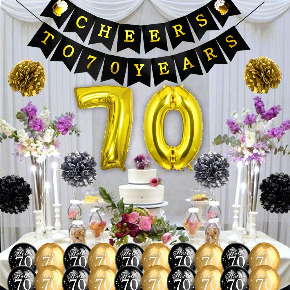 Howaf 18th Birthday Decoration Black And Gold Swirl Party Hanging Decorations