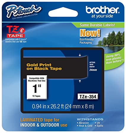 Genuine Brother TZE-354 Gold on Black 24mm x 8m P-Touch Laminated Label Tape