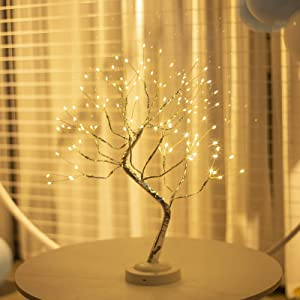"""FOAMICHI 20"""" Tabletop Bonsai Copper Wire Tree Light, Battery/USB Operated Artificial Tree Lamp with Eight Functions Perfect Decor for Home Decor, Wedding Festival (Warm White)"""