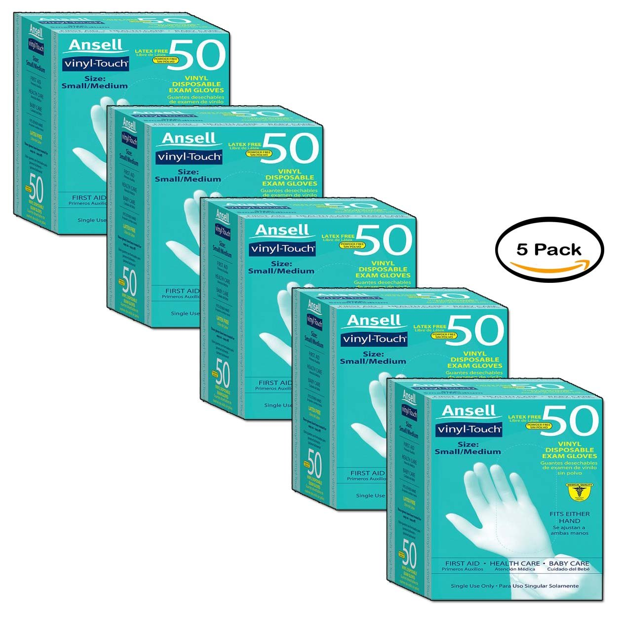 PACK OF 5 - Ansell Vinyl Touch Gloves, S/M, 50ct by Ansell