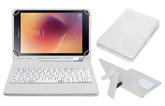 Acm USB Keyboard Case for Samsung Galaxy Tab A 8.0 2017 WiFi Tablet Cover Stand with Free Micro USB OTG   White Tablet Accessories