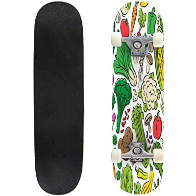 Novelty Funny 31 inch Skateboard Vegetables Seamless Pattern Fruit Seamless Pattern Stock Complete Longboard Standard Skate Board Double Kick Tricks Skateboards for Kids Boys Girls Youths Beginners : Sports & Outdoors
