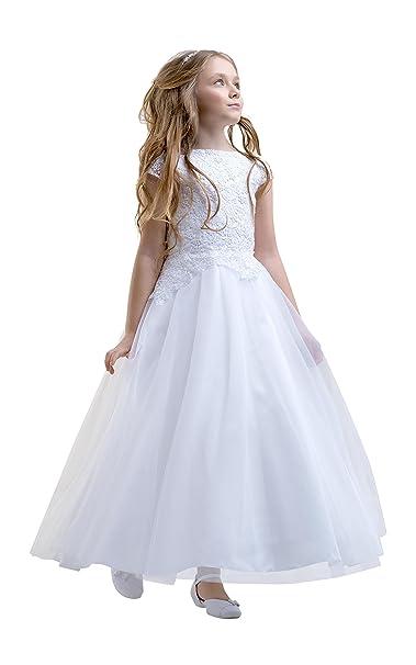 Lacey Bell Vestito Bambina Prima Comunione Damigella Gonna Tulle Corpetto  Pizzo CD-21  Amazon.it  Abbigliamento 7e297b287d3