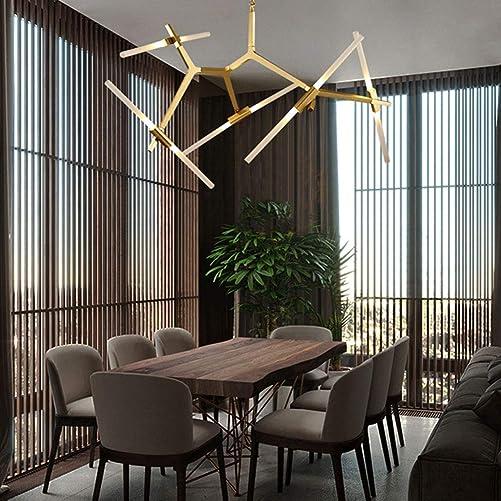 Sputnik Modern Chandelier, 10 Light 360 Degree Adjustable Pendant Lighting Gold Industrial Retro Ceiling Light Decor for Living Room Dining Room Coffee Shop