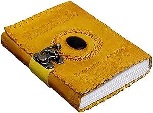 دفتر مذكرات ورقي مصنوع يدويا من الجلد الطبيعي العتيق دفتر مذكرات مع قفل معدني وحجر اسود بيضوي في المنتصف بحجم 7×5 انش (لون اصفر)