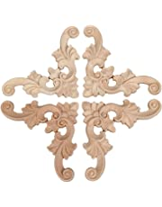4pcs 7*7*0.8cm Onlay Applique Flor de la madera decorativa Esquina