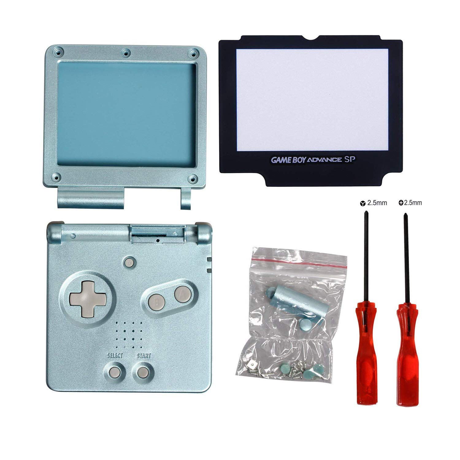 Timorn Full Parts Housing Shell Pack Replacement for Nintendo GBA SP Gameboy Advance SP (Light Blue Pack)