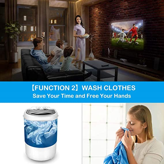2020 New Multifunctional Portable Mini Washing Machine Wash Shoes Wash Clothes and Spin-dry,10 lbs Capacity,Mini Washer for Apartments Camping Dorms Business Trip College Rooms