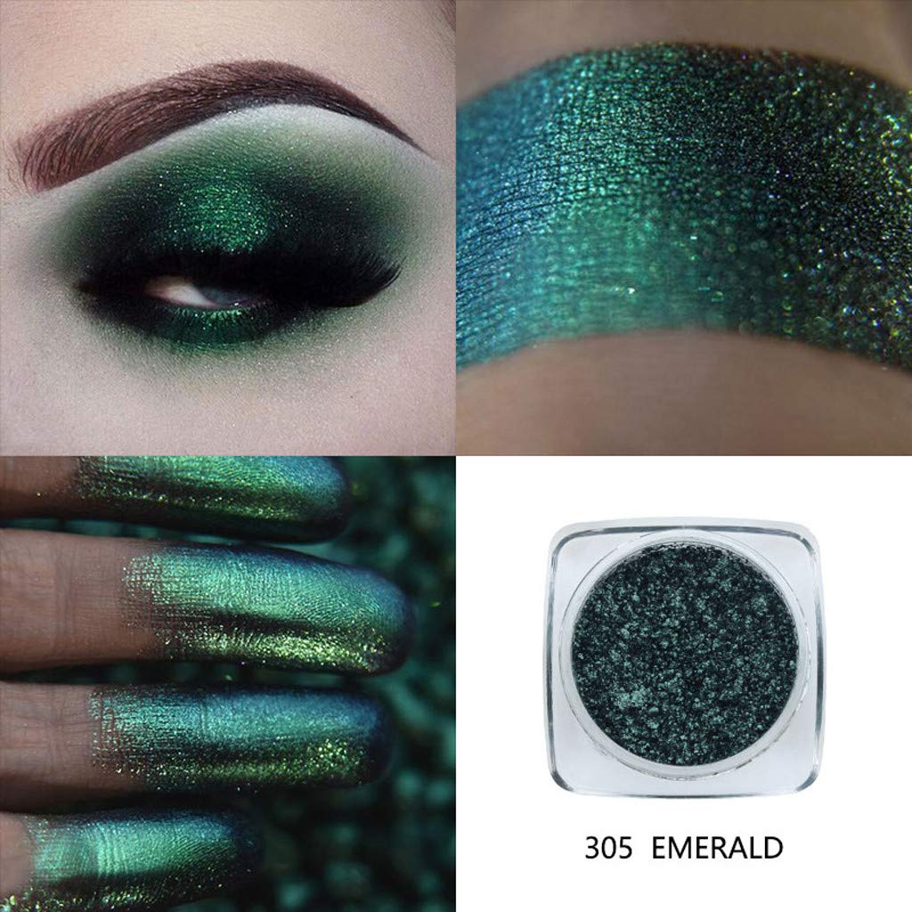 Metallic Eyeshadow Palette by HP95 - Single Baked Shimmer Glitter Eyeshadow Palettes Smoky Eye Shadow Makeup for Carnival/Masquerade/Party/Holiday (#305-EMERALD)