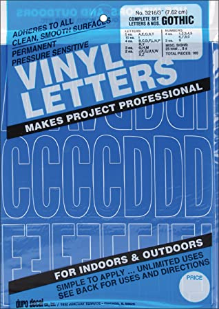graphic products permanent adhesive vinyl letters and numbers 3 inch blue 160