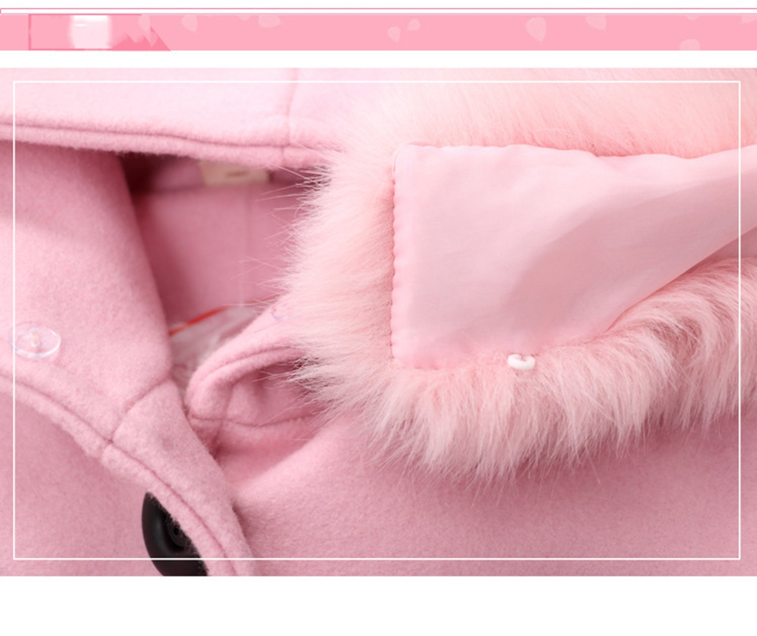Euno Winter Girls' Fashion Thickening Detachable Fur Collar Coats and Hooded Coats Pink P120 by Euno (Image #3)