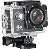 MixMart 4K 16M Action Camera Sports Camera with 2'' LCD Screen 170 Degree HD Wide-Angel Fish-Eye Lens, Built-in WiFi for Android and iOS Devices