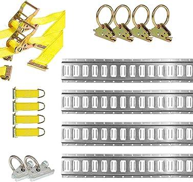 E-Track Tie-Down Accessories DC Cargo Mall E Track Tie-Down Kit E-Track Basket 25 Pieces: 5 ft Black Rails