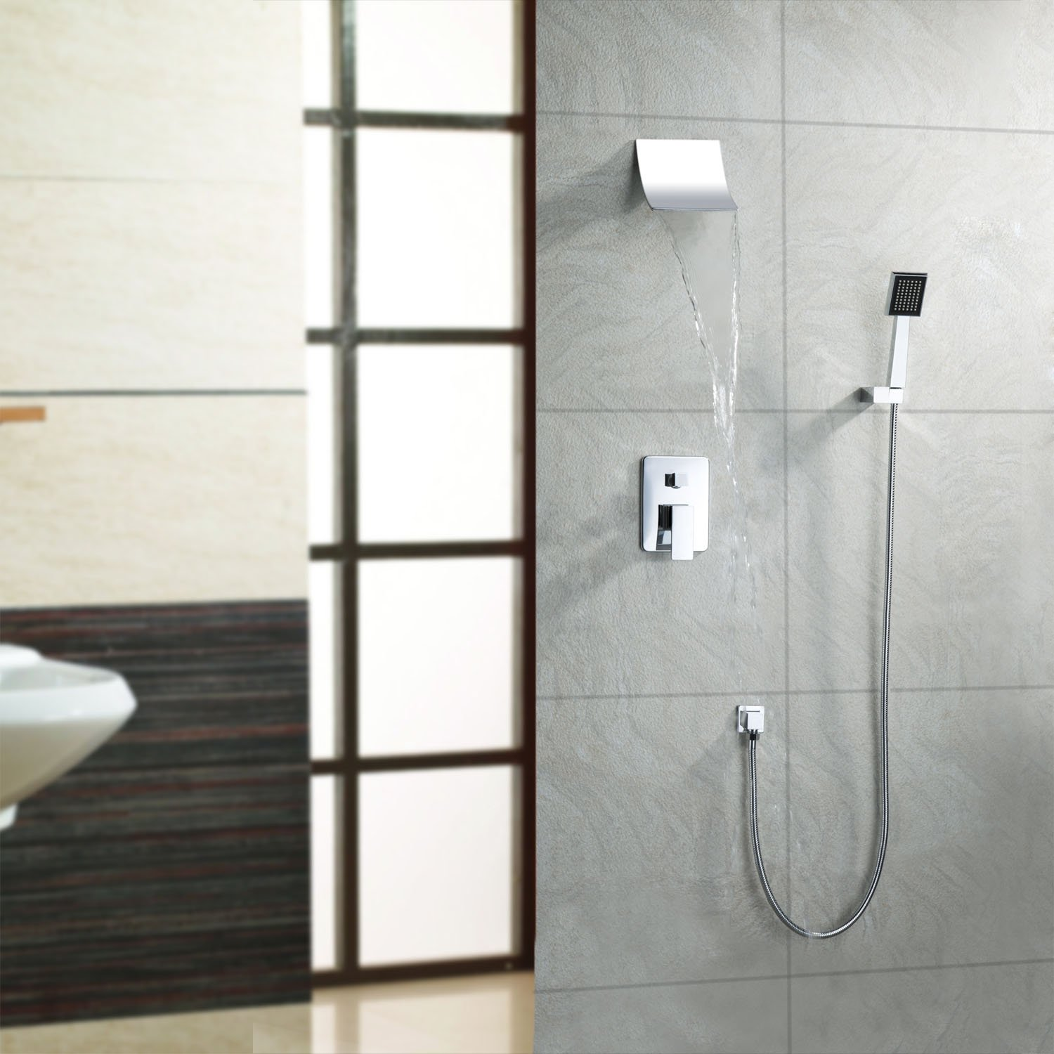 Waterfall wall mount bathroom faucet - Lightinthebox Contemporary Wall Mount Widespread Waterfall Shower Faucet With Fixed Rainfall Shower Head And Handheld Shower With Shower Holder And Arms