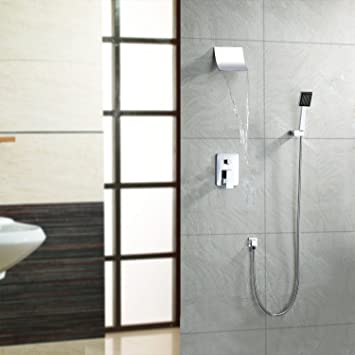 wall mount widespread waterfall shower faucet with fixed rainfall shower head and handheld shower
