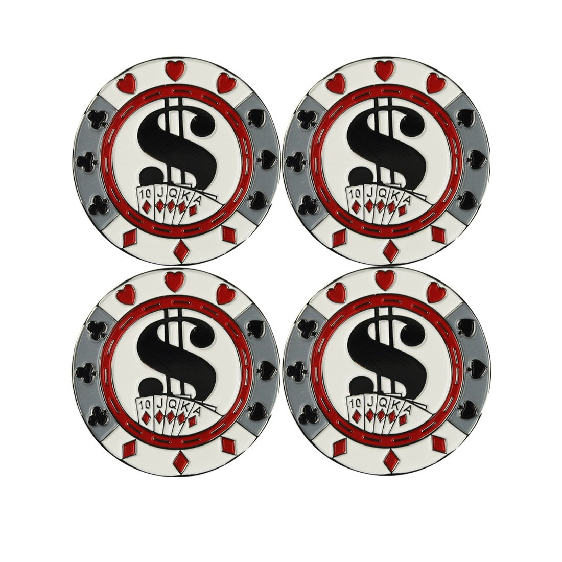 PINMEI Set of 4 Metal Magnetic Golf Poker Chips with Removable Ball Markers for Golf Game
