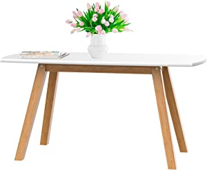 bonVIVO Coffee Table Franz, Designer Coffee Tables for Living Room and Modern Coffee Table That can be Used as Side Table, White and Wooden Coffee Table with Bamboo Frame