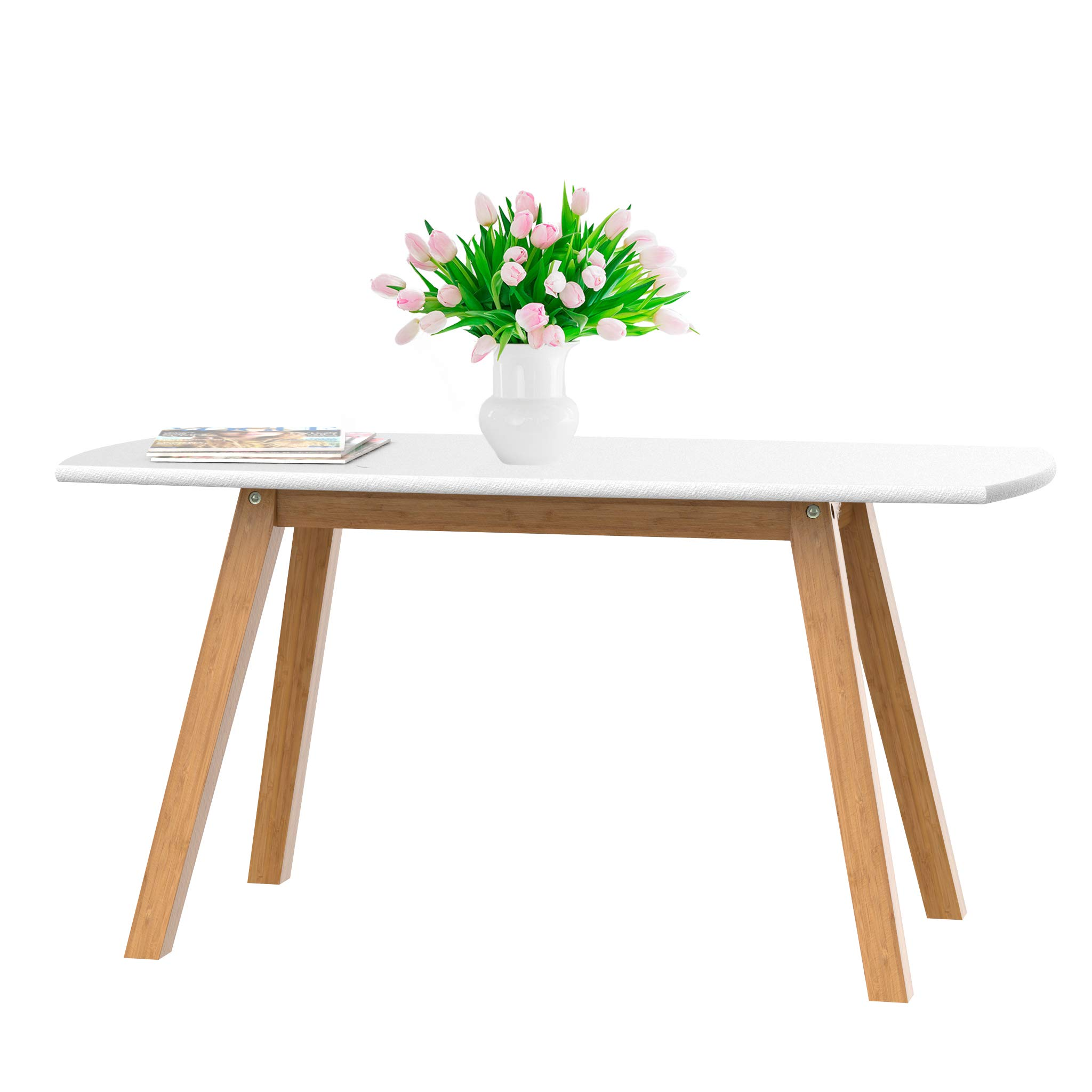bonVIVO Coffee Table Franz, Designer Coffee Tables for Living Room and Modern Coffee Table That can be Used as Side Table, White and Wooden Coffee Table with Bamboo Frame by bonVIVO