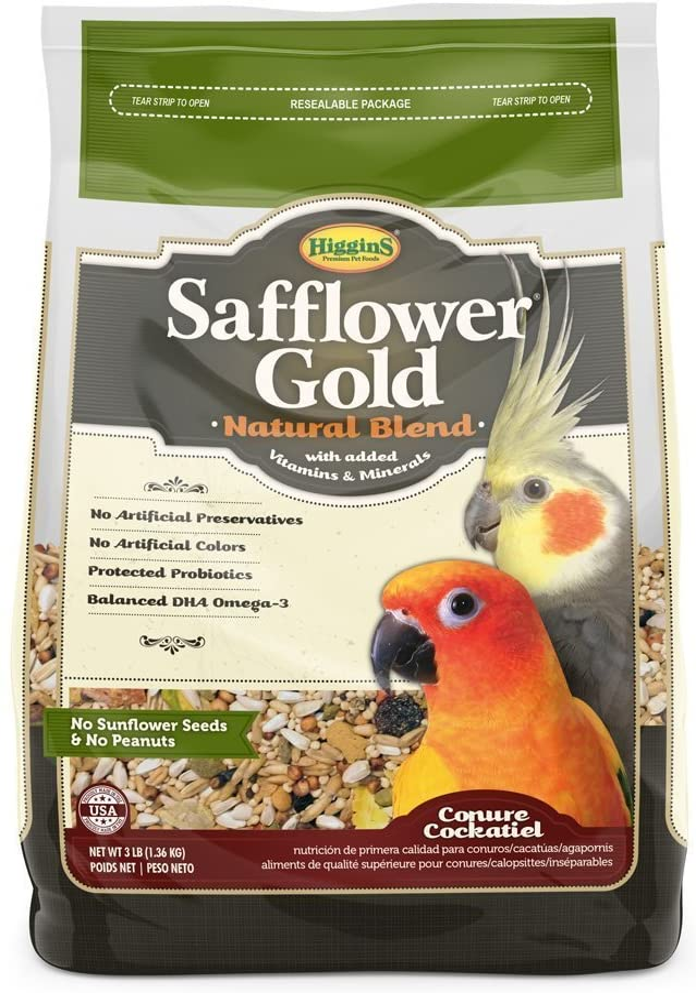 Higgins Safflower Gold Conure & Cockatiel Bird Food. 3 lb. Bag. Conure Food, Cockatiel Food