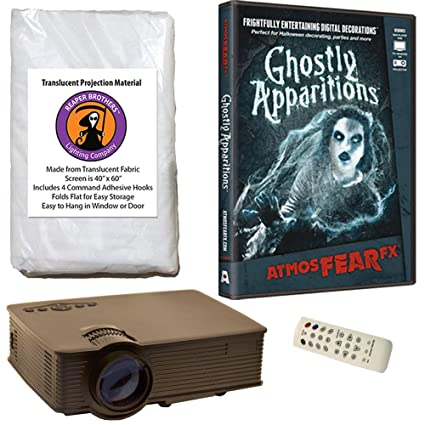 atmosfearfx ghostly apparitions halloween dvd projector kit with 1900 lumen led video projector reaper brothers