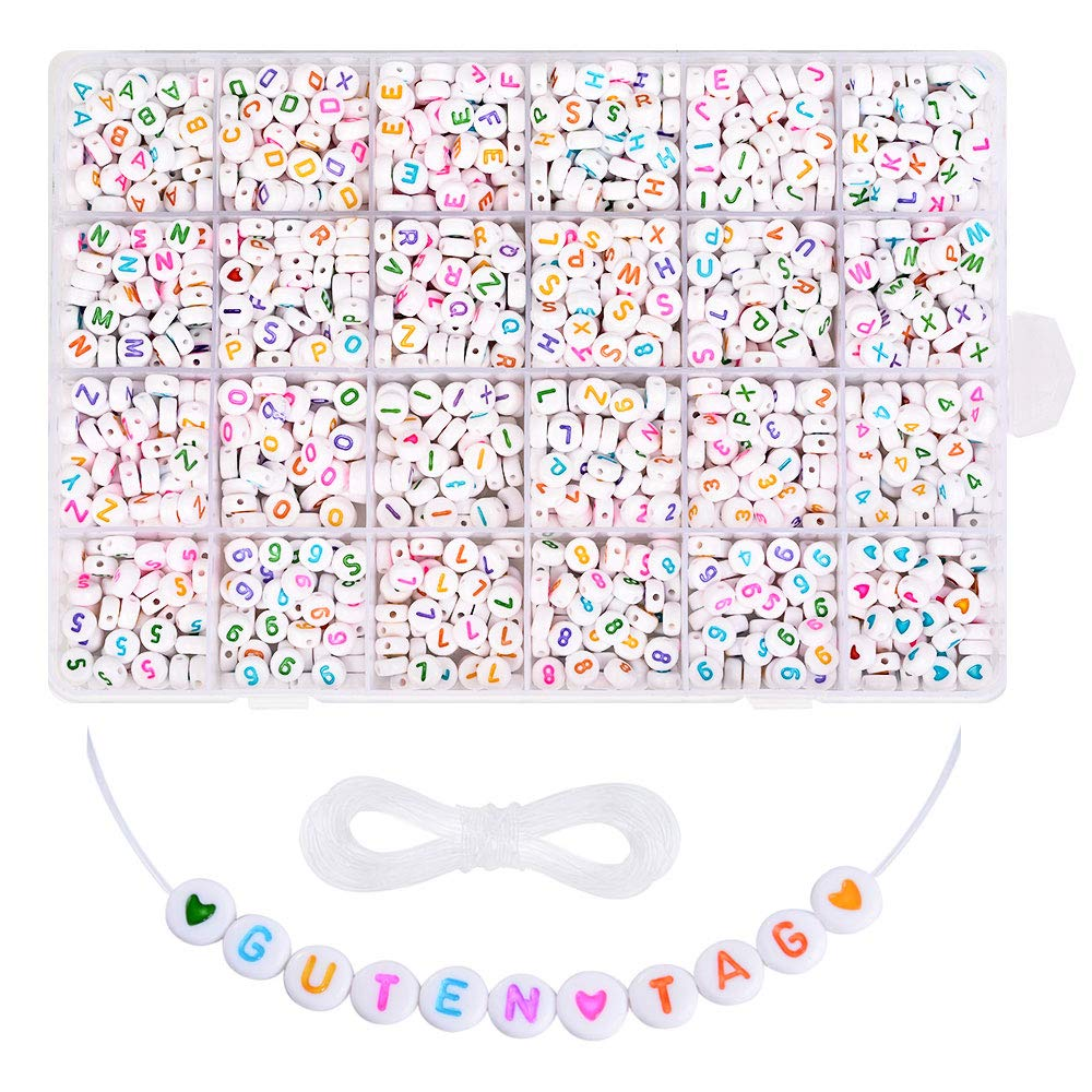 Roblue 1850PCS Colorful Alphabet Beads DIY A-Z Letter Beads Number and Heart Beads for Jewellery Making Bracelet Gift for Kids 4x7mm by Roblue
