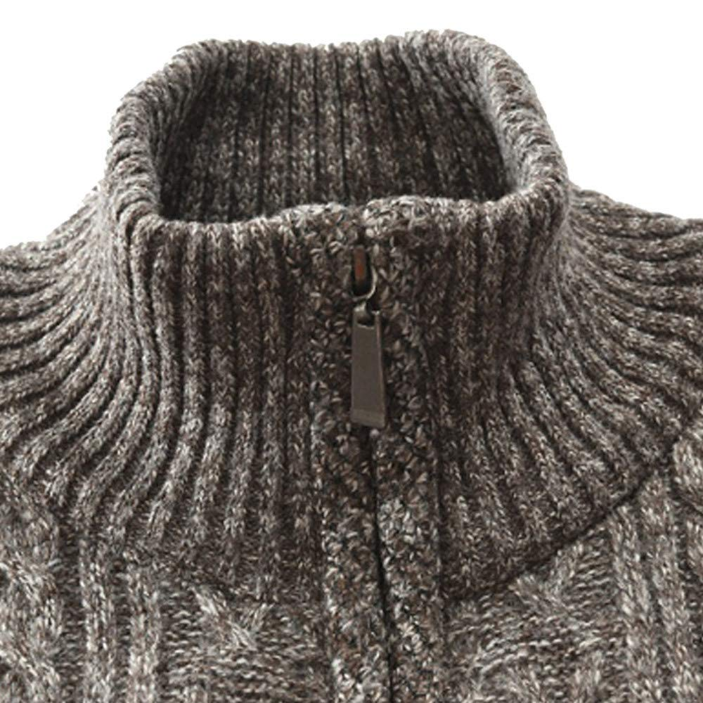 HARRYSTORE Mens Casual Stand Collar Slim Full Zip Thick Cable Knitted Cardigan Sweaters with Pockets