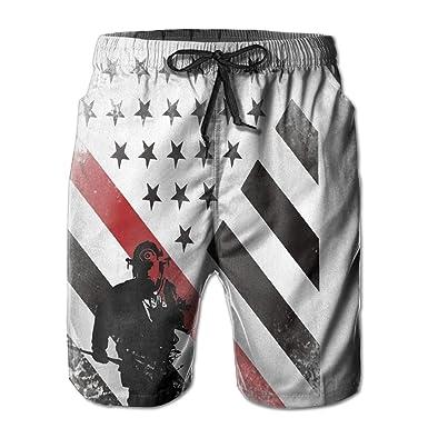 b44998ed4b Huadduo Firefighter Red Line Flag Men's Summer Swim Trunks Quick Dry Casual Beach  Board Cargo Shorts | Amazon.com
