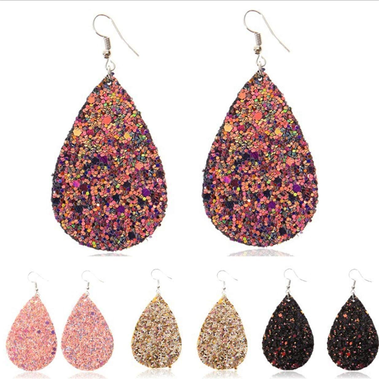 6 Pairs Elegant Faux Leather Earrings Set Lightweight Leather Earrings Teardrop Leaf Earrings Bohemia Glitter Sequins Faux Leather Earrings for Women Girls