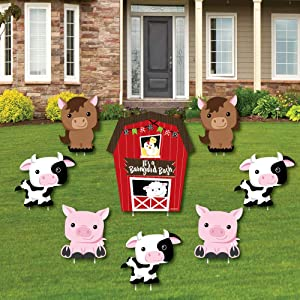 Farm Animals - Yard Sign & Outdoor Lawn Decorations - Barnyard Baby Shower or Birthday Party Yard Signs - Set of 8