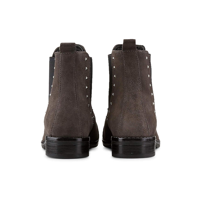Cox Damen Chelsea-Stiefel aus Leder, Leder, Leder, Stiefeletten in Dunkel-Grau mit angesagten Nieten 10f260