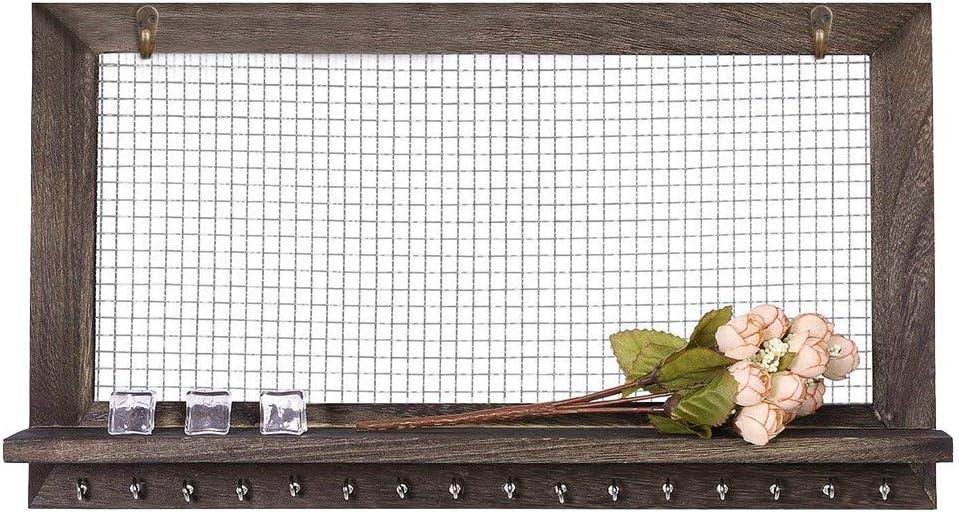 Bo/îte de Rangement de Bijoux Brun Antique Support de Collier de Boucle doreille Murale en Bois,Organisateur de Bijoux Brun Rustique Support Mural en Bois pour Collier de Boucles doreilles