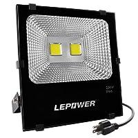 100W New Craft LED Flood Lights, Super Bright Work Lights, 500W Halogen Bulb Equivalent, IP66 Waterproof, 8000Lm, 6500K, Outdoor Floodlight for Garage, Garden, Lawn and Yard ( White Light)