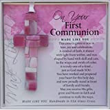 First Communion Gift for Girl - Handmade in USA Pink Mosaic Glass Cross with Sentiment