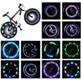 Rottay Bike Wheel Lights, Bicycle Wheel Lights Waterproof RGB Ultra Bright Spoke Lights 14-LED 30pcs Changes Patterns…