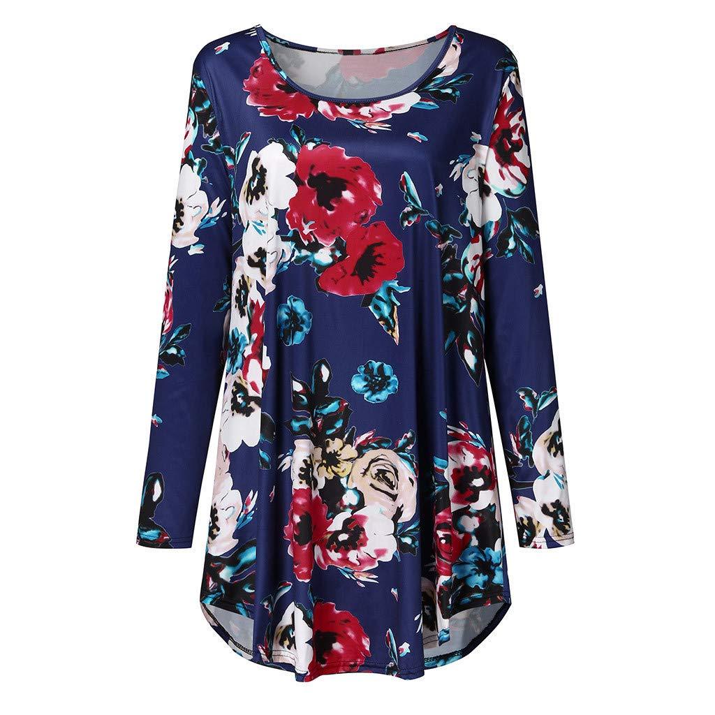 Chanyuhui Womens Fashion Floral Print O-Neck Long Sleeve Loose T-Shirt Dress Casual Irregular Midi Dress