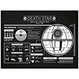 """Amazon Price History for:Inked and Screened Sci-Fi and Fantasy """"Star Wars Death Star Infographic"""" Print, Chalkboard - White Ink"""