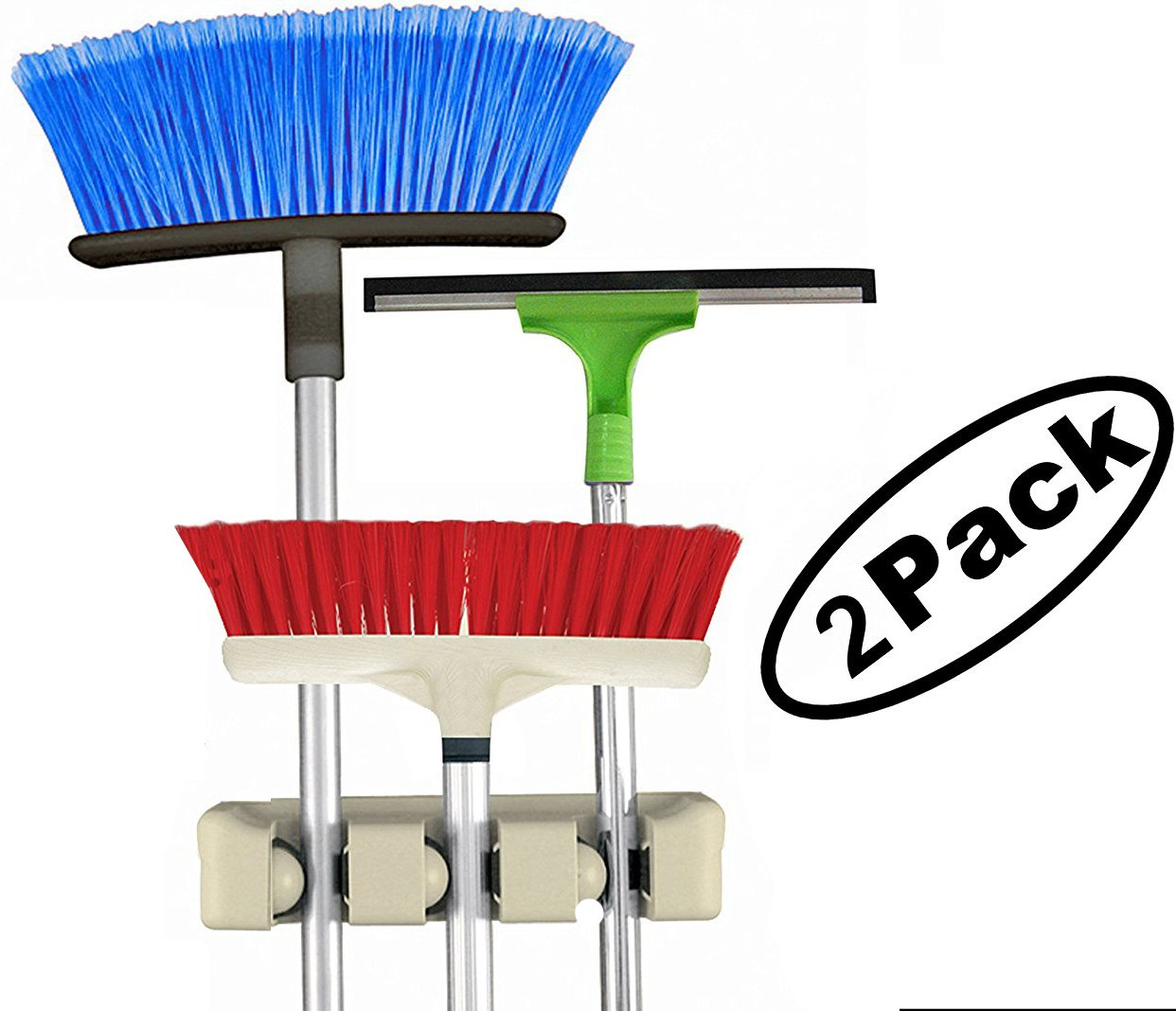 Quality Choice Broom Mop Tool Holder organizer, 3 Slots Organizers, Wall Mount 2 pack