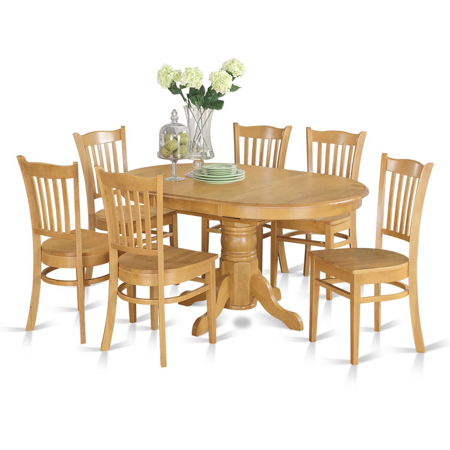 AVGR7-OAK-W 7 Pc formal Dining room set- Oval dinette Table with Leaf and 6 Dining Chairs.