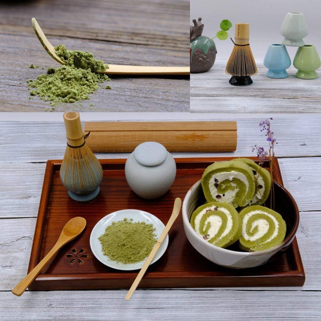 Juego de batidora de t/é verde verde claro bamb/ú, cuchara de bamb/ú y soporte de cer/ámica para ceremonia de t/é japon/és tradicional Matcha