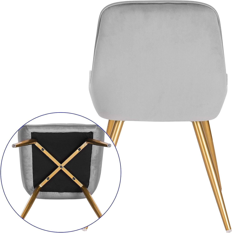 E-starain 2 PCS Sedie per Tavolo da Pranzo Poltroncina Vintage con Schienale Imbottito Sedia da Scrivania Design retr/ò Grigio Chiaro LCNI73007-2
