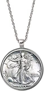 product image for Silver Walking Liberty Half Dollar Coin Silvertone Pendant Necklace