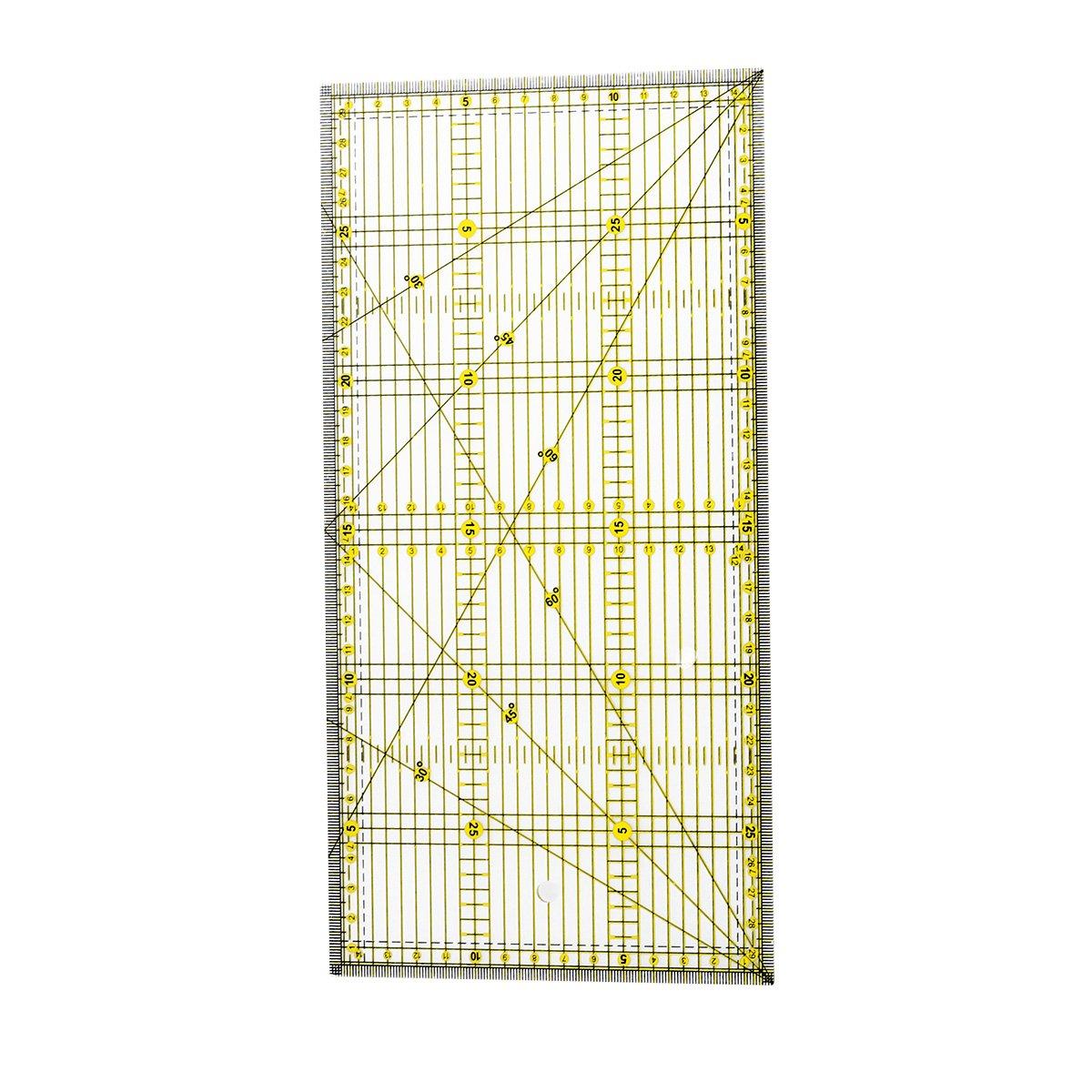 healifty DIY Quilters righello con doppio colori Raster linee di precisione per semplice Tagliante (15 x 30 cm)