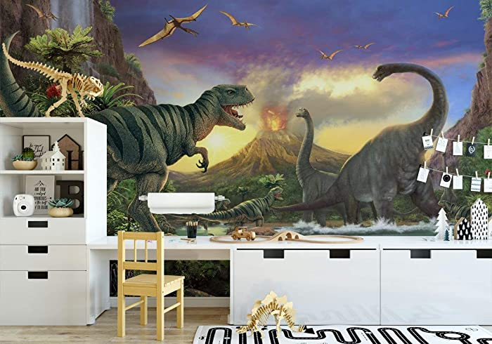 Jurassic Dinosaurs Wallpaper For Boys Bedroom Removable Fabric Wall Mural For Kids Selfadhesive Wall Decal Sticker Peel And Stick Best Kids Bedroom Wall Murals
